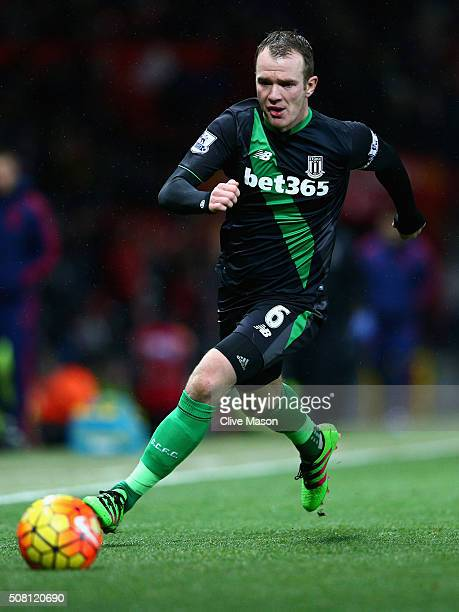 Glenn Whelan of Stoke City in action during the Barclays Premier League match between Manchester United and Stoke City at Old Trafford on February 2...