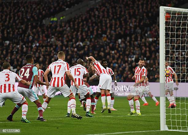 Glenn Whelan of Stoke City scores a home goal during the Premier League match between West Ham United and Stoke City at Olympic Stadium on November 5...