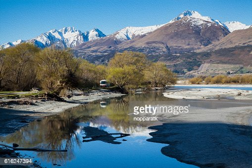 Glenorchy in Oil Paint Filter, New Zealand : Foto de stock
