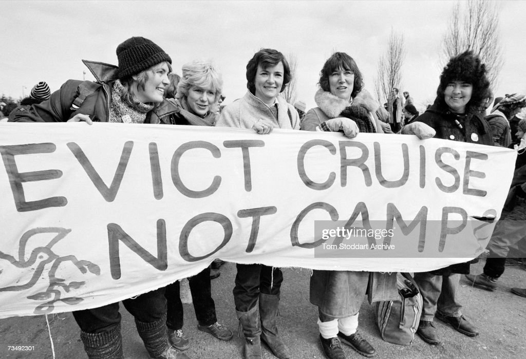 Glenys Kinnock (centre), wife of British Labour Party leader Neil Kinnock, demonstrates against the deployment of nuclear cruise missiles at RAF Greenham Common near Newbury in Berkshire, December 1983.