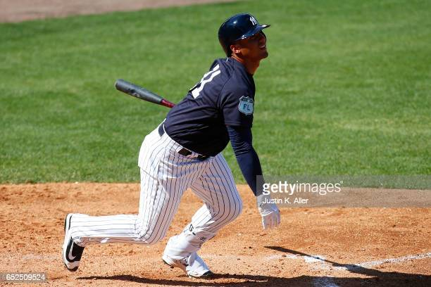 Gleyber Torres of the New York Yankees in action against the Detroit Tigers at George M Steinbrenner Field on March 11 2017 in Tampa Florida