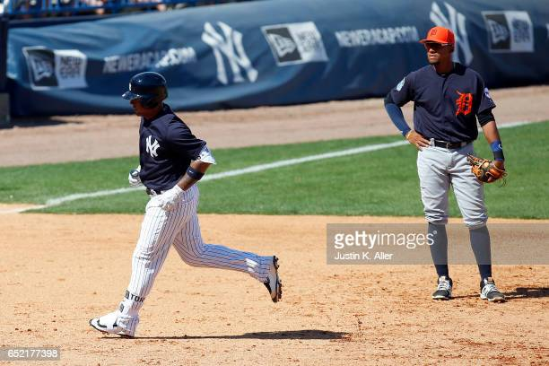 Gleyber Torres of the New York Yankees rounds third after hitting a solo home run in the sixth inning against the Detroit Tigers during a spring...