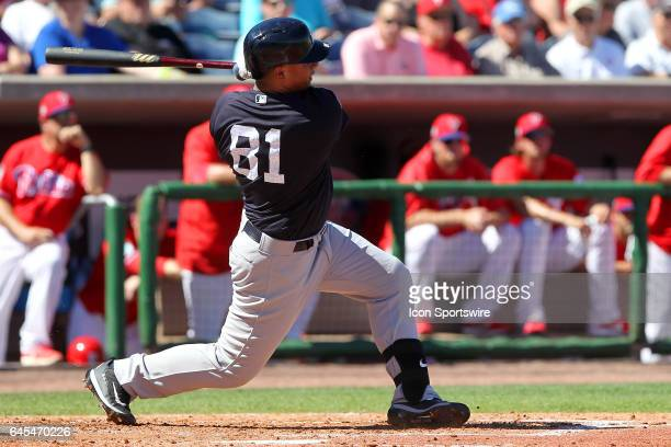 Gleyber Torres of the Yankees at bat during the spring training game between the New York Yankees and the Philadelphia Phillies on February 25 2017...