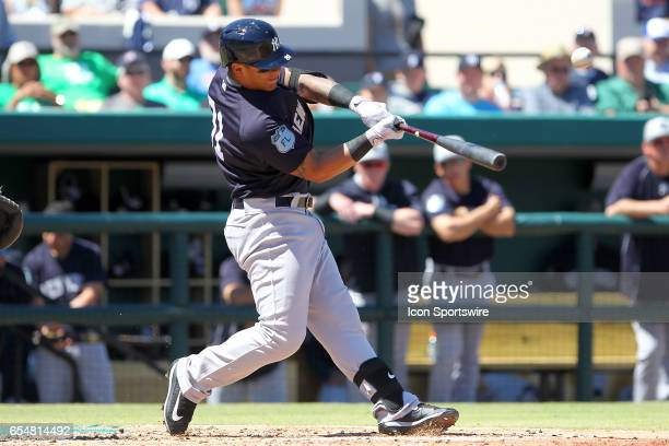 Gleyber Torres of the Yankees at bat during the spring training game between the New York Yankees and the Detroit Tigers on March 17 2017 at Joker...