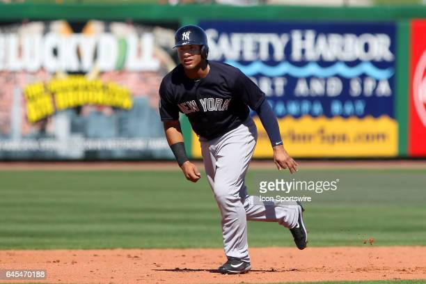 Gleyber Torres of the Yankees runs to third base during the spring training game between the New York Yankees and the Philadelphia Phillies on...