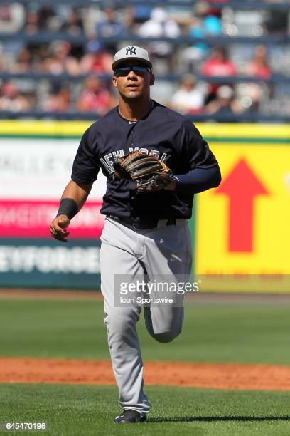 Gleyber Torres of the Yankees trots off the field during the spring training game between the New York Yankees and the Philadelphia Phillies on...