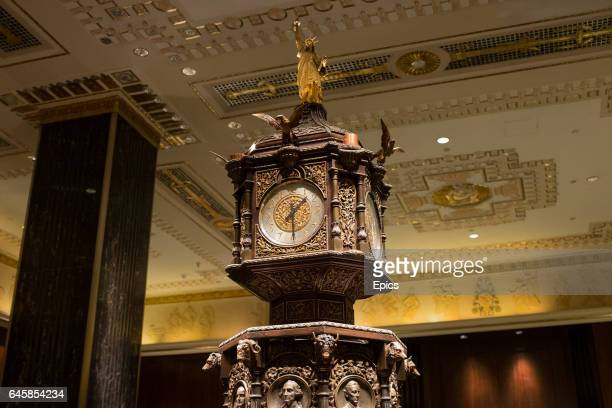 A glided statue of liberty sits atop the clock in the main lobby of of the Waldorf Astoria hotel on Park Avenue Manhattan February 25th 2017 the...