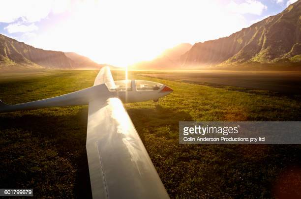 Glider airplane on remote runway