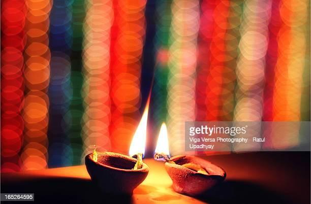 Glimmering Earthen Lamps on Diwali