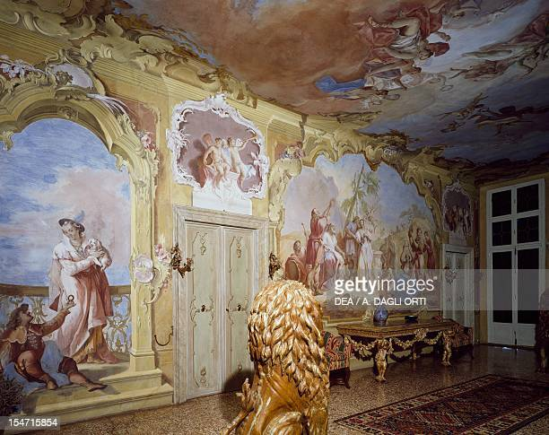 Glimpse of the central hall with frescoes by Jacopo Guarana Villa Contarini Valnogaredo Cinto Euganeo Veneto Italy 18th century