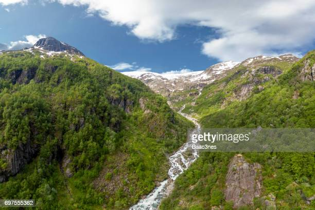 A glimpse of the glacier Folgefonna in Hordaland county, Norway