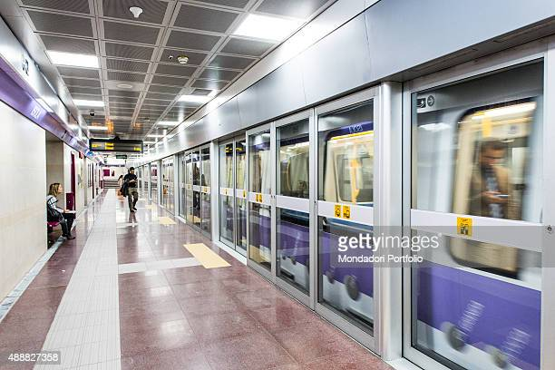 Glimpse of the Line M5 of the tube of Milan also called lilac line because of the colour which represents it on the maps and which colours the trains...