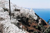Glimpse of Thira Santorini island Cyclades island Greece