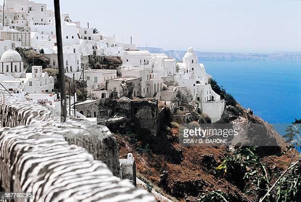 Glimpse of Thira Santorini island Cyclades island Greece