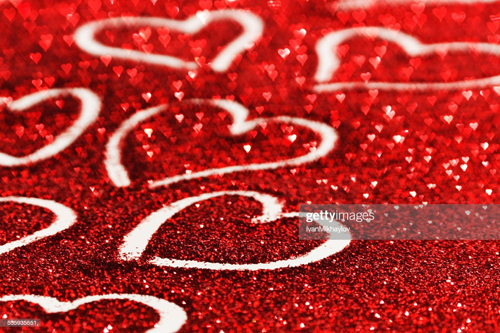 Glitter background with hearts : Stock Photo