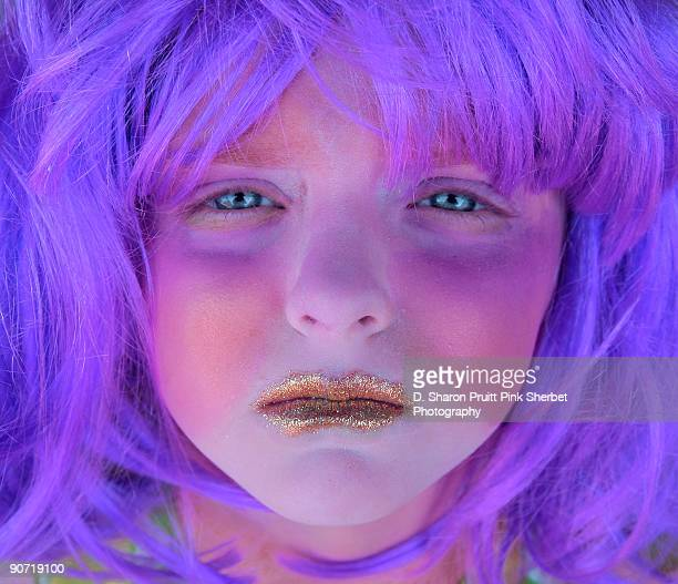 Glitter Clown Girl With Purple Hair and Blue Eyes