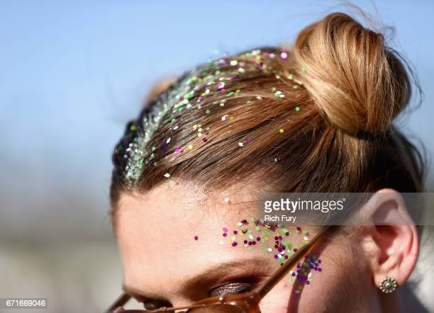 Glitter hair detail of festivalgoers during day 2 of the 2017 Coachella Valley Music Arts Festival at the Empire Polo Club on April 22 2017 in Indio...