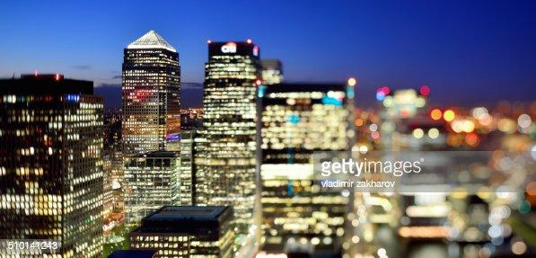 Glittering lights of London at sunset