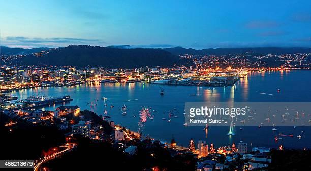 Glittering Wellington Harbour on Guy Fawkes Night