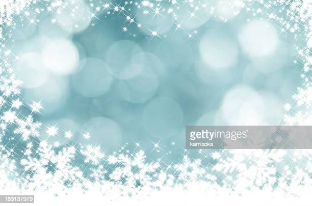 Glittery blue and white snowflake background