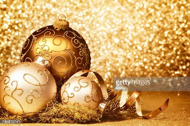 Glittery golden christmas baubles