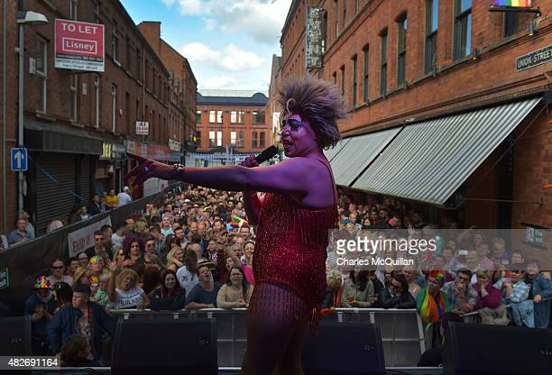 Glitzy Glamour performs on stage in Union Street as thousands of participants and supporters take part in the 25th annual Belfast Pride parade on...