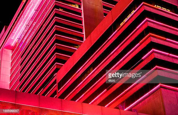 glitzy red city architecture abstract at night