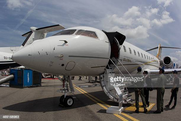Global 600 jet manufactured by Bombardier aircraft is displayed at the Singapore Airshow on February 13 2014 in Singapore The Singapore air show is...