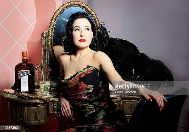 Global ambassador for Cointreau Dita Von Teese poses for a portrait to promote the launch of the limited edition 'My Private Cointreau Coffret' at...