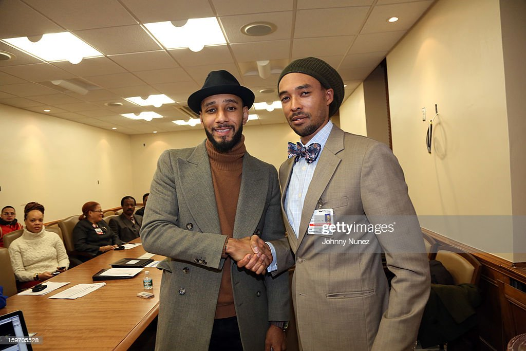 HHC Global Ambassador Kasseem '<a gi-track='captionPersonalityLinkClicked' href=/galleries/search?phrase=Swizz+Beatz&family=editorial&specificpeople=567154 ng-click='$event.stopPropagation()'>Swizz Beatz</a>' Dean and Dr. Robert J. Gore visit Kings County Hospital on January 18, 2013 in the Brooklyn borough of New York City.