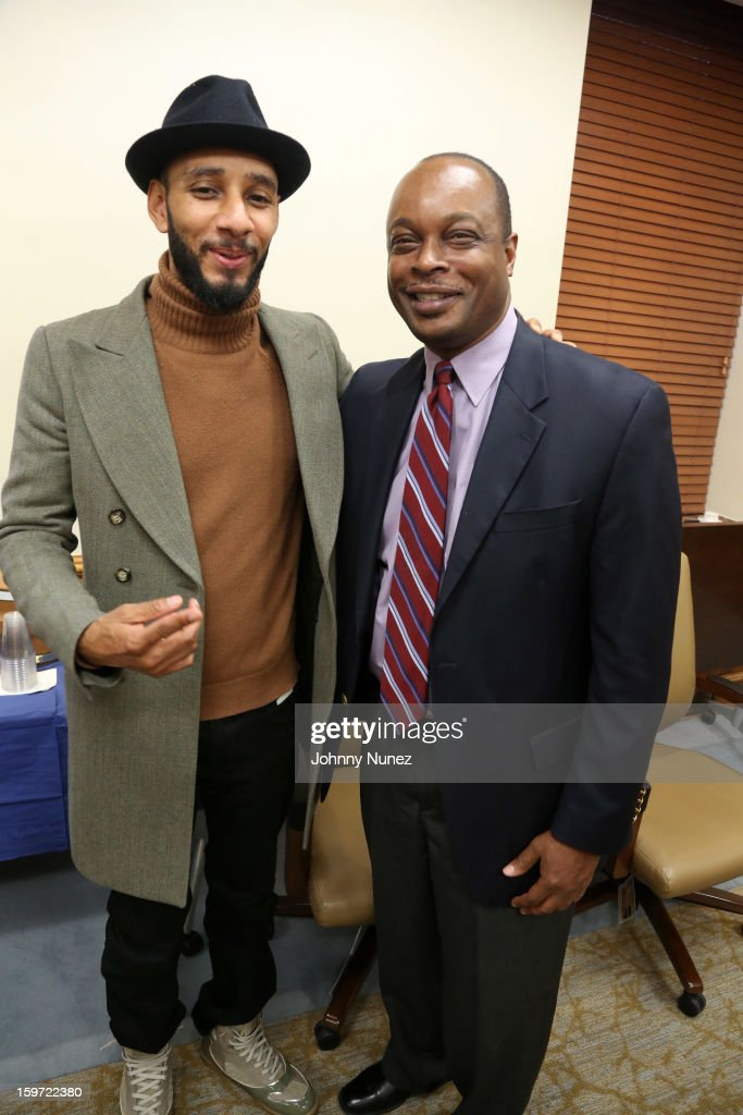 HHC Global Ambassador Kasseem '<a gi-track='captionPersonalityLinkClicked' href=/galleries/search?phrase=Swizz+Beatz&family=editorial&specificpeople=567154 ng-click='$event.stopPropagation()'>Swizz Beatz</a>' Dean and Executive Director of Kings County Hospital Center, Ernest J. Baptiste visit Kings County Hospital on January 18, 2013 in the Brooklyn borough of New York City.