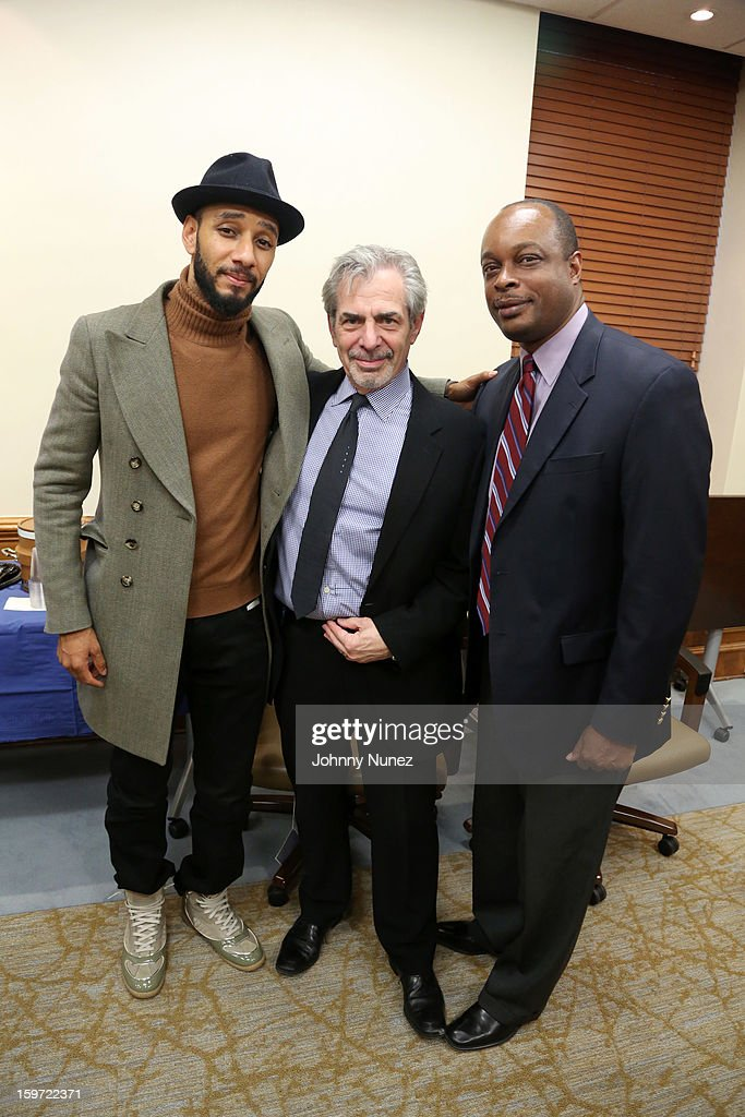 HHC Global Ambassador Kasseem '<a gi-track='captionPersonalityLinkClicked' href=/galleries/search?phrase=Swizz+Beatz&family=editorial&specificpeople=567154 ng-click='$event.stopPropagation()'>Swizz Beatz</a>' Dean, Chief of Staff of New York City Health and Hospitals Corporation Joe Schick, and Executive Director, Kings County Hospital center, Ernest J. Baptiste visit Kings County Hospital on January 18, 2013 in the Brooklyn borough of New York City.