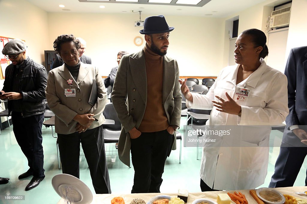 Global Ambassador Kasseem '<a gi-track='captionPersonalityLinkClicked' href=/galleries/search?phrase=Swizz+Beatz&family=editorial&specificpeople=567154 ng-click='$event.stopPropagation()'>Swizz Beatz</a>' Dean (c) visits Kings County Hospital on January 18, 2013 in the Brooklyn borough of New York City.