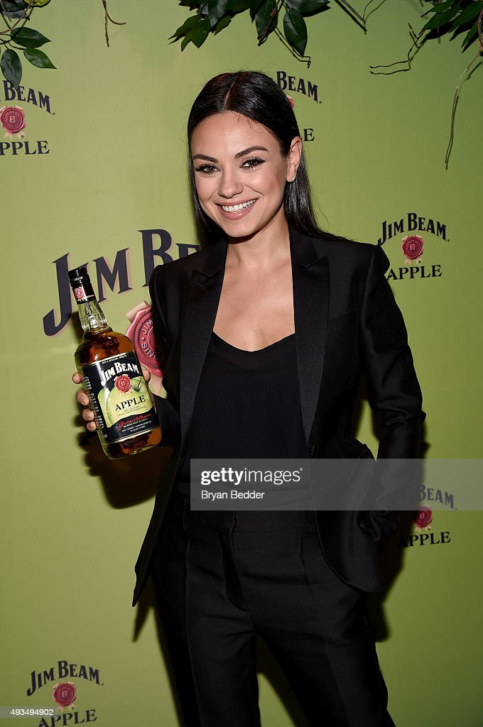 Global brand partner <a gi-track='captionPersonalityLinkClicked' href=/galleries/search?phrase=Mila+Kunis&family=editorial&specificpeople=212845 ng-click='$event.stopPropagation()'>Mila Kunis</a> attends the Jim Beam Bourbon launch event for its newest flavored product Jim Beam Apple at The Paramount Hotel on Tuesday, October 20, 2015 in New York City.