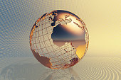 World global business design with abstract hi-tech golden metal background (3D render map reference from NASA)