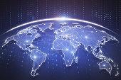 Digital blue globe interface. Global business background. 3D Rendering