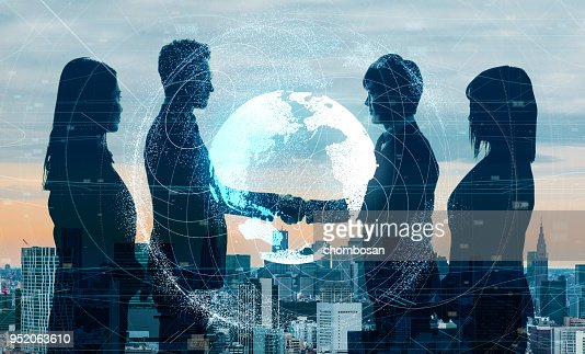 Global business concept. Shaking hands businessperson. : Stock Photo