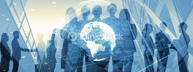 Global business concept. Silhouette of business people. : Stock Photo