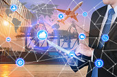 Global business connection technology interface global partner connection of Container Cargo freight ship for logistic import export background. Business logistics concept , internet of things