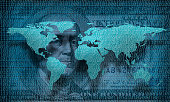 conceptual image of one hundred dollar bill and world map with binary code. NASA world map image is layered and manipulated for using in this image, www.nasa.gov