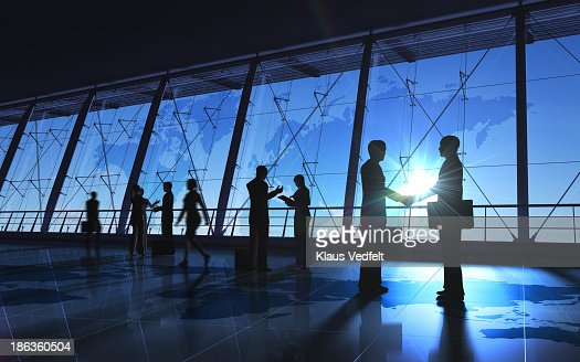 Global Business-schütteln, hand und meeting-Silhouetten : Stock-Foto