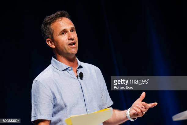 Global Chief Creative Officer of TBWA Chris Garbutt speaks during the Cannes Lions Festival 2017 on June 24 2017 in Cannes France