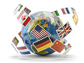 National flags of world countries around Earth globe isolated on white