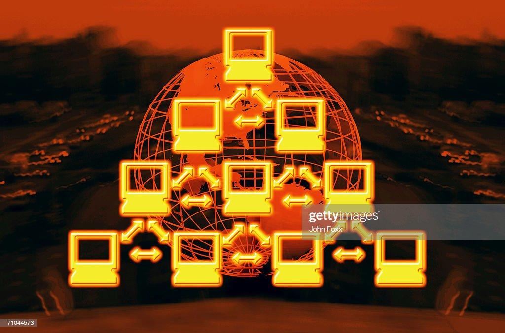 Global communication, close-up : Stock Photo