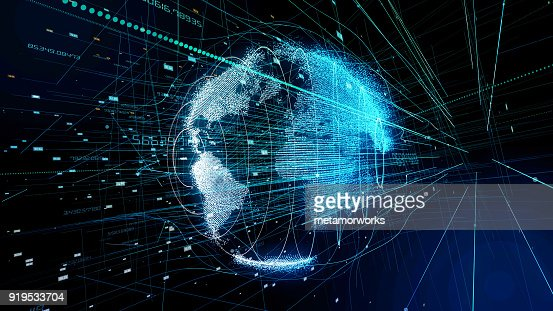 Global communication concept. Technological abstract background. : Stock Photo