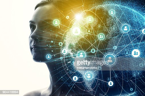 Global communication network and AI (Artificial Intelligence) concept. : Stock Photo