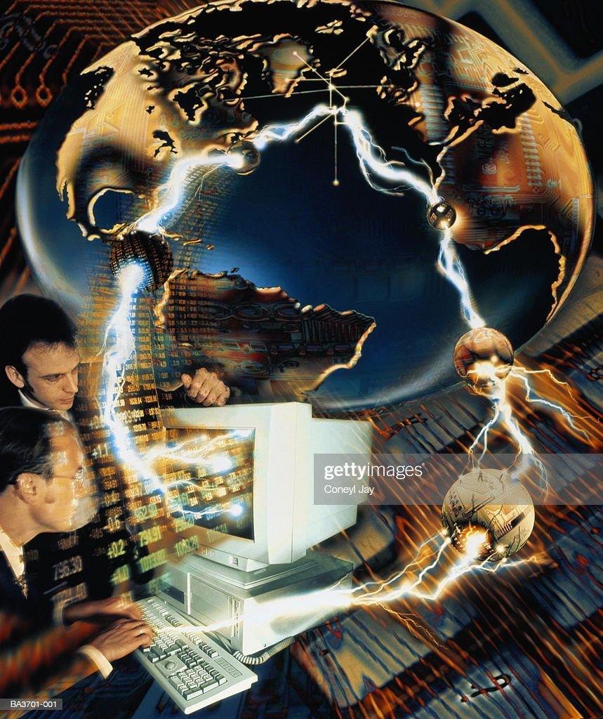 Global communication network composition (Digital Composite) : Stock Photo