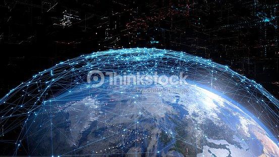 グローバル通信ネットワークの概念。 : ストックフォト