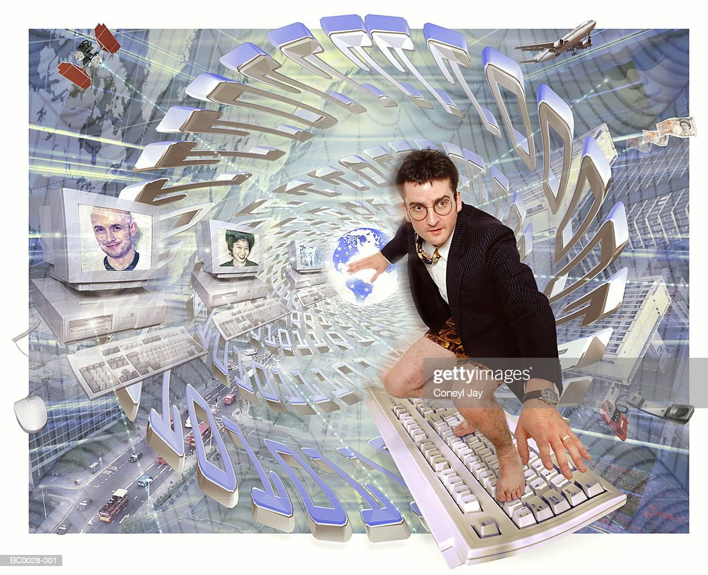 Global communications, businessman 'surfing' on keyboard (Composite) : Stock Photo