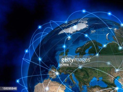 Global communications, Europe : Stockfoto